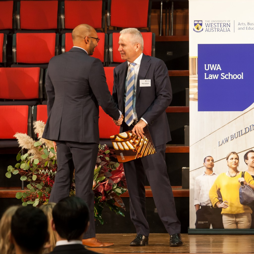 Jeremy Perera accepting award The UWA Law School Awards Ceremony for the 2016 Academic Year was held on Tuesday 23 May 2017 at W